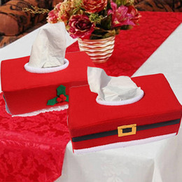 Wholesale Case For Tissue Box Canada - Wholesale- Lovely Cute Home Table Tissue Box Case Napkin Holder For Home Christmas Xmas Dinner Tablecloth Decorations Facial Tissue Holder