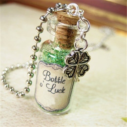 Lucky cLover charms online shopping - 12pcs Bottle of Luck necklace Clover Lucky Charm Cork glass Bottle Pendant jewelry
