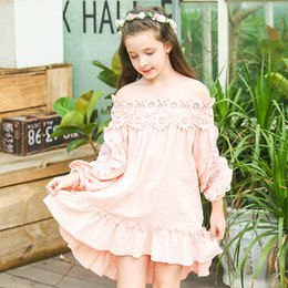 Barato Menina Bege Vestido De Renda-Everweekend Big Girls Lace Floral Asymmetric Ruffles Dress Lovely Kids Pink e Bege Color Clothes Princess Autumn Party Dress