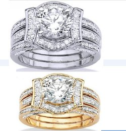 $enCountryForm.capitalKeyWord Canada - Wedding Ring Set For Women Vintage K White Gold Filled With Inlay CZ Diamond Female His Girlfriend Gift Party 3-in-1