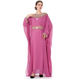 turkish islamic clothes 2020 - women Embroidery long batwing sleeve muslim arabic dress turkish gown Dubai moroccan Kaftan Islamic Abaya muslim beaded