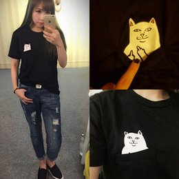 Barato Camisas Superiores Do Gato-Hot Sale Summer T-shirt Mulheres Casual Lady Top Tees Tshirt Feminino Marca Vestuário T Shirt Printed Pocket Cat Top T bonito S-4XL