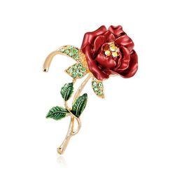 $enCountryForm.capitalKeyWord UK - Female Accessories High Grade Alloy Painted Enamal Rhinestone Rose Brooches Pin Red Flower Ornaments Corsage Wedding Gift