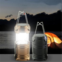 Wholesale 2 color Portable Rechargeable Hand Lamp Collapsible Solar Outdoor Camping Hiking Lantern Tent Lights Solar USB Bulb