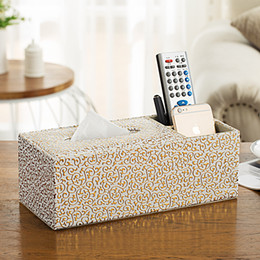 napkin tissues Canada - Wholesale- Gold Carve Rectangle Multifunction Tissue Box Pen Remote Control Storage home office desk organizer Paper Napkin Towel cover