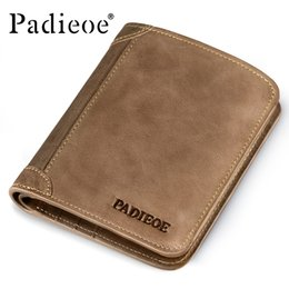 Man Business Card Holder Canada - Wholesale- Padieoe Brand Top Cow Genuine Leather Wallets for Men Casual Male Wallets Vintage Organizer Purse Billfold Business Card Holders