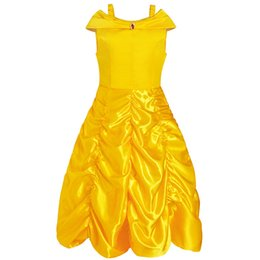China Beauty and Beast Bell's Yellow Princess Dress Girls Cosplay Costume Party Dresses Lace Up Bowknot Tunic Skirt supplier beast cosplay suppliers