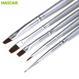 Barato Broca Escova De Pintura Por Atacado-Atacado - U 5pcs / set UV Gel Acrílico Nail Art Brush Drawing Dting Drill Pen Builder Pintura Pen Design Nail Art Tools Dropship