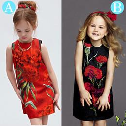 Children Straight Gown Styles Canada - Summer Girl Dresses Carnations Flower Printed Dress Girls Elegant Straight Vest Dress Kids Girls Princess Dress Children Summer Clothing