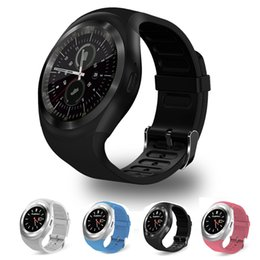 Gsm mobile watches online shopping - Y1 Bluetooth Smart Watches Round Face G GSM SIM App Sync Mp3 for Android IOS Intelligent Mobile Phone Smartwatch PK DZ09