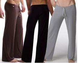 Negro   gris   negro   blanco hombres Sexy sedoso salón holgados holgados  pantalones deportivos de yoga Pijama Hombres Pijamas Ropa de dormir  Pantalones 69edce5b3a33