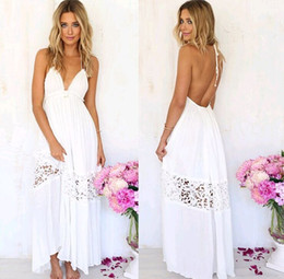 Barato Vestidos Maxi De Halter Branco-White Dress Bandage Lace Halter Long Dress Skirt Praia Maxi Vestido de verão Backless v Neck Dresses