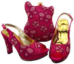 Ladies Rhinestone Handbags NZ - Hot sale fuchsia african shoes match bag set with rhinestones lady high heel shoew and handbag for dress BCH-35,heel 11.5CM