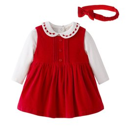 Barato Vestido Infantil Vermelho-Kids Girls Red Sets Baby Girls Dress + Romper + Headband 3pcs Ternos 2017 Infant Newborn Embroidery Outfits Children Boutique Clothing B918