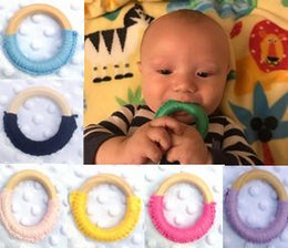 Wholesaler Training Canada - Baby Teething Ring Safety Environmental Friendly Baby Teether Teething Ring Wooden Teething training Child Chews Baby Teeth Stick