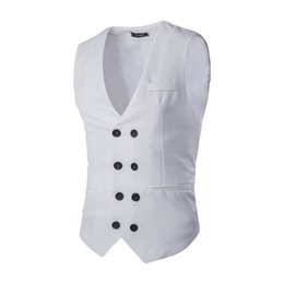 Maillot De Bain Pas Cher-Wholesale- Mens Slim Fit Business Suit Vest 2016 Nouveautés Double Breasted Waistcoat Fashion Solid Color Colete Livraison gratuite ZMJ15