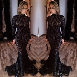 Barato Vestidos Para Festas-2018 Hot Sale Cheap Long Evening Dresses Alto pescoço Long Sleeves Pavimento Comprimento Memraid Prom Vestidos de festa Vestidos de noite personalizados Custom Made