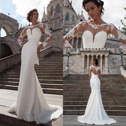 cheap pink long sleeve mermaid gown 2019 - 2019 New Designer Bohemian Milla Nova Lace Mermaid Wedding Dresses Sheer Long Sleeves Beach Bridal Gowns Simple Cheap We