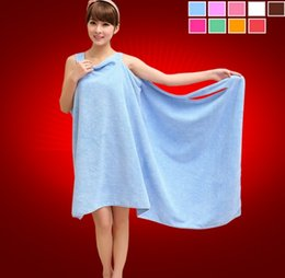 Towel Robe Girls Canada - Hot Sell Magic Bath Towels Lady Girls SPA Shower Towel Body Wrap Bath Robe Bathrobe Beach Dress Wearable Magic Towel With 9 Colors