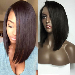 $enCountryForm.capitalKeyWord Australia - Short Bob Synthetic Lace Front Wigs for Black Women Black Color Straight Heat Resistant Fiber Hair Wig free shippping