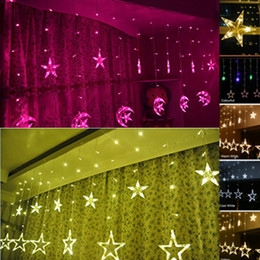 Decoration lights stars online shopping - Star Christmas Lights m leds Romantic Fairy Star LED Curtain String Lighting For Holiday Wedding Garden Party Decoration US EU Plug