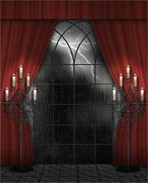 $enCountryForm.capitalKeyWord Canada - Halloween Photography Backdrops Vintage Printed Red Curtain Candles Lightning Rainy Night Photographic Background Studio Picture Shoot Props