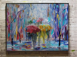 $enCountryForm.capitalKeyWord Canada - Framed People Walking on Rain,Handpainted Abstract Landscape Art oil painting On High Quality Canvas Home Wall Decor size can be customized