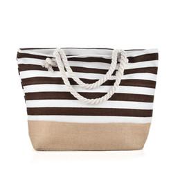 Stripe canvaS tote beach bagS online shopping - Blue Stripes Beach Bag Light type Canvas Zipper Woman Handbag Ladies Sea Travel Bag Casual Totes Shoulder Bags Tote QQ2145