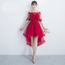 $enCountryForm.capitalKeyWord Canada - 2017 red two pieces set lace Hi-lo dresses with lace floral strapless evening dress for mature lovely lady sexy skirt