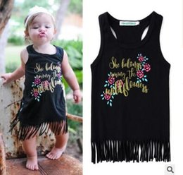 Barato Bebê, Menina, Vestidos, Flor, Impresso-Cotton Girl's Tassel Dresses Outfits 2017 Flower Letter Printed Baby Girls Vestido de verão New Princess Toddler Infant Birthday Party Dress
