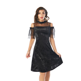 China Beauty Garden Women Clothes Fashion Sheer Panelled Off The Shoulder Casual Party Evening Black Retro Dresses cheap velvet dresses sleeves suppliers
