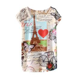 top eiffel tower 2019 - Wholesale- Spring Summer 2017 Brand New Fashion Harajuku Short Sleeve T Shirt Women Tops Eiffel Tower Printed T-shirt Wh