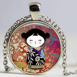 $enCountryForm.capitalKeyWord Canada - Cute Japanese Kokeshi Doll Pendant Necklace Fashion Jewelry Burgundy Wine Ethnic Doll Charm Woman Girl Birthday Christmas Gift