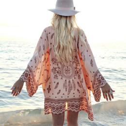 $enCountryForm.capitalKeyWord NZ - Women Shirt Kimono Boho Cardigan Vintage Geometric Print Blouse Loose Shawl Lady Bohemian Coat Jacket long sleeve blouse shirt