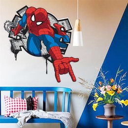 spiderman bedroom. 3D cartoon Spiderman Wall Decals Removable PVC stickers Mural For kids Room  bedroom home Decor Vinyl Wallpaper art poster Discount Bedroom 2018