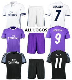 Set Football Uniforms Canada - Thai quality soccer jerseys Real Madrid Home away third game uniform 16-17 mens football club set kid kits polo shirt customized mix order
