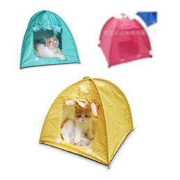 Cute Tents Canada - Mixed colors Cute Polka dots Foldable Pet Cat Kitty Tent House Camp Water Resistant 3 colors