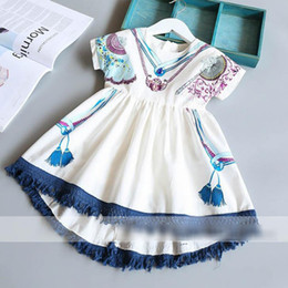Robe Collier Été Pas Cher-2017 Summer Girls Robe en coton Robe imprimée Florals Tassles Dress Enfants Princess Princess Dress 13094