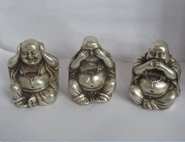 "Discount tibet art - christmas decorations for home+ Art & Collectible Tibet silver Carved ""3 not see say hear "" Buddha Figurine Bu"