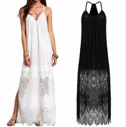 a043f236ebd7 2017 Summer Spaghetti Strap Women Oversize Maxi Dress Solid Loose Plus Size  Beach Lace Split Hem Dresses