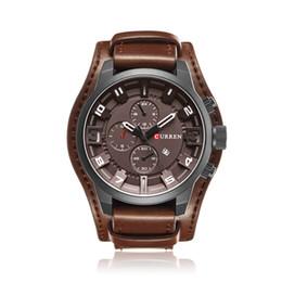 e082b27f128a CURREN Mens Relojes de Primeras Marcas de Lujo Reloj Correa de Cuero  Masculino Gran Dial Militar Reloj de pulsera de Los Hombres Reloj de Cuarzo  Relogio ...