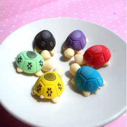 cute cartoon erasers NZ - 3*2cm Cartoon The Little Turtle Modelling Pencil Eraser Small Removable Mini Cute Rubber Eraser Student Gift