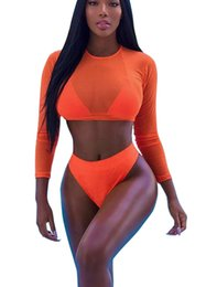 Barato Senhoras Luva Swimwear-New Coming Orange / Black / Army Green Swimsuits Mulher 3pcs Sexy Mesh Long Sleeve Tops Biquinis Laced-up Underwear Hot Ladies Swimwear Atacado