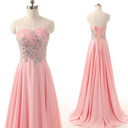 Barato Chiffon Ruched Sweetheart Vestido-Vestidos de noiva feitos sob medida feitos sob medida Chiffon cor-de-rosa com cristais sem mangas queridos no atacado Lace-up Back Evening Party Gowns Sweep Train