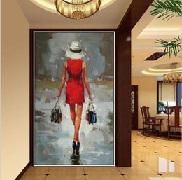 $enCountryForm.capitalKeyWord Canada - Handmade Oil Painting Sexy Portraits Art Beautiful Red Skirt Sexy Shopping Lady Picture Wall Art Girl Picture Home Decor
