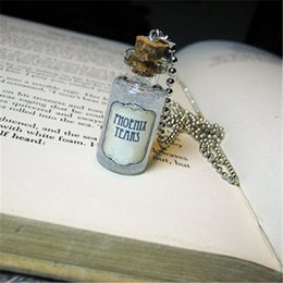 Necklace bottles cork online shopping - 12pcs PHOENIX TEAR necklace burned tag Cork glass Bottle Pendant