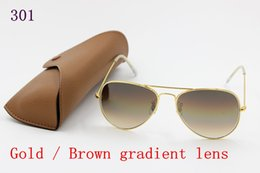Brown Sun Glasses NZ - 1pcs Hot Sale Mens Womens Pilot Gradient UV400 Sunglasses Designer Sun Glasses Gold Brown Blue Grey 62mm Glass Lenses Original Cases Box