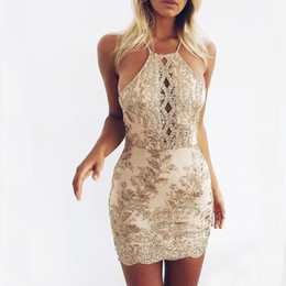 Sexy Women Backless Halter Backless Off Shoulder Slim Gold Embroidery Lace  Evening Party Wedding Cocktail Club Mini Dress 75d094364e3e