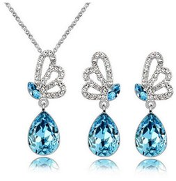 $enCountryForm.capitalKeyWord Canada - Wholesale Price New Fashion Jewelry Angel Tears Austrian Crystal Necklace Earrings Jewelry Sets for Women Made With Swarovski Elements Gift