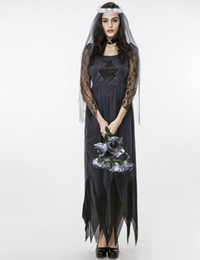 Cosplay Sexy Mariée Pas Cher-Nouveau adulte Ghost Bride Lace Tulle Longue robe Black Picot Edge Sexy Cosplay Costumes d'Halloween pour les femmes Stage Performance Vêtements Hot Sale